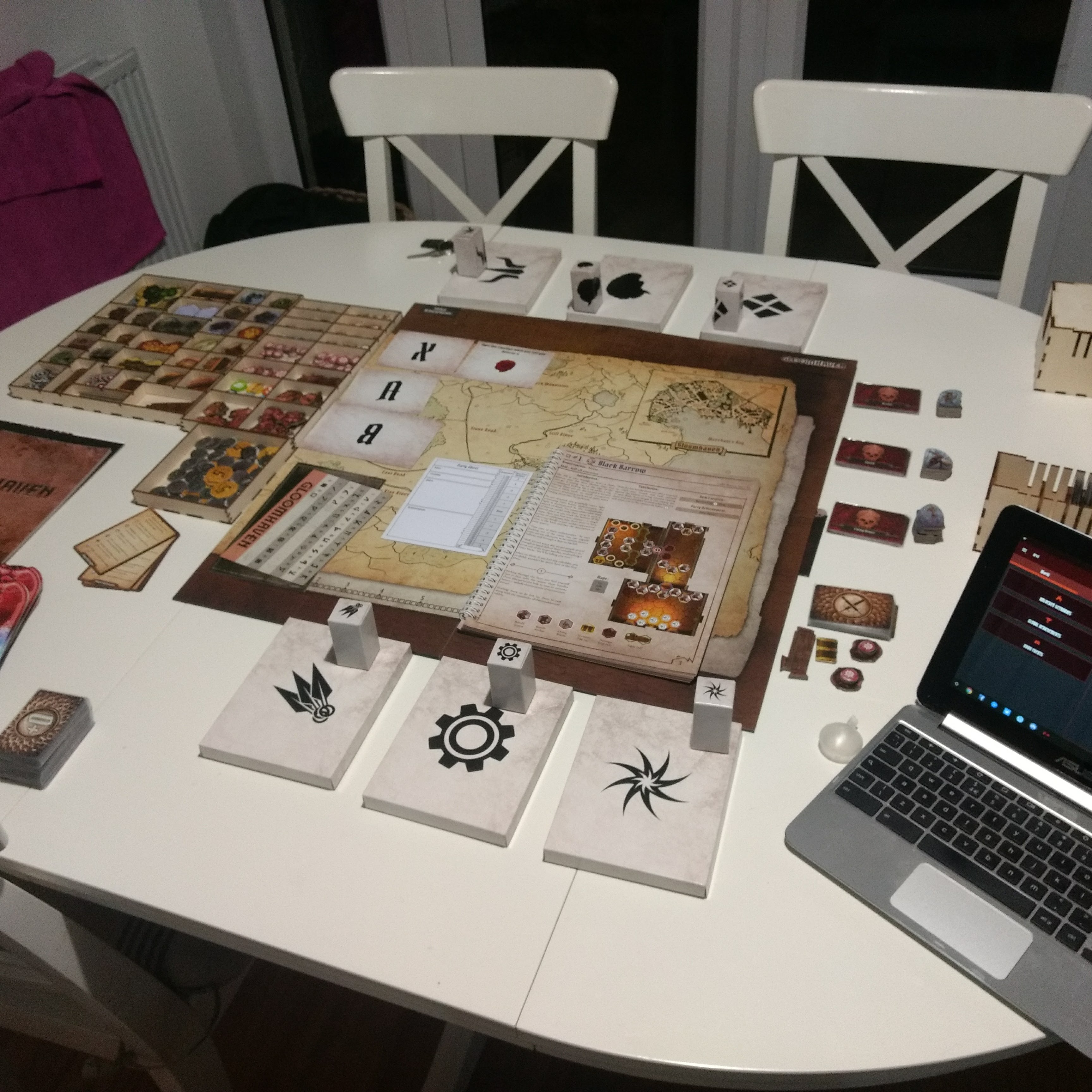 My table setup to play Gloomhaven.