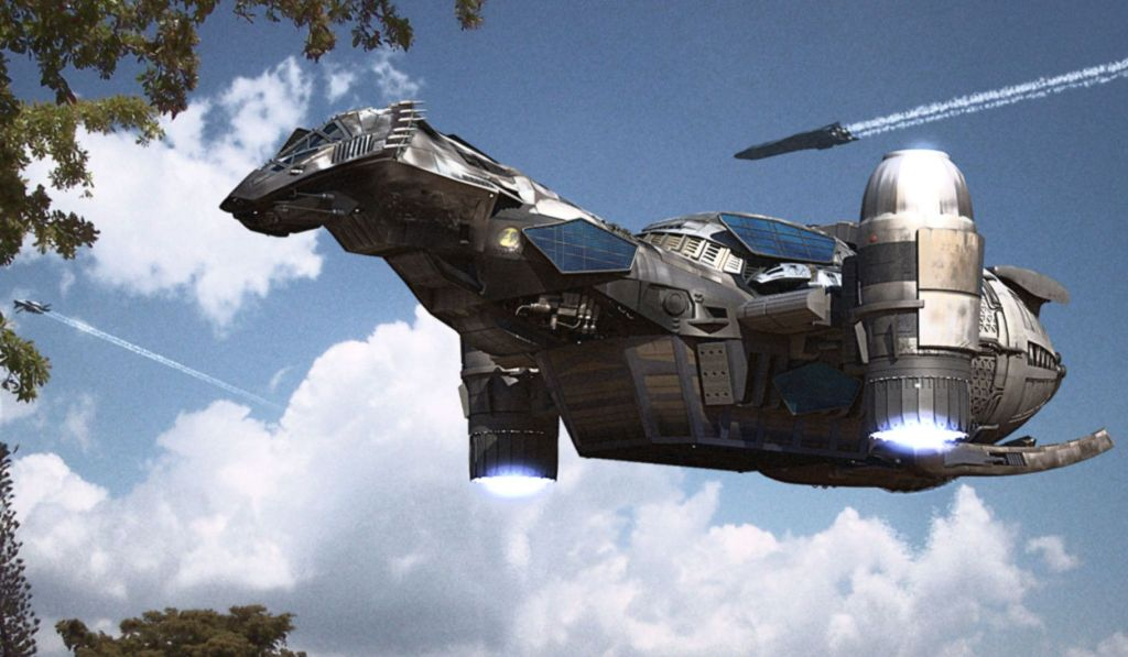 """An image from the Firefly TV show of the ship """"Serenity"""""""