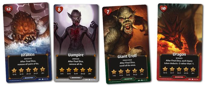 Monster cards from left to right Kraken, Vampire, Giant Troll and Dragon.