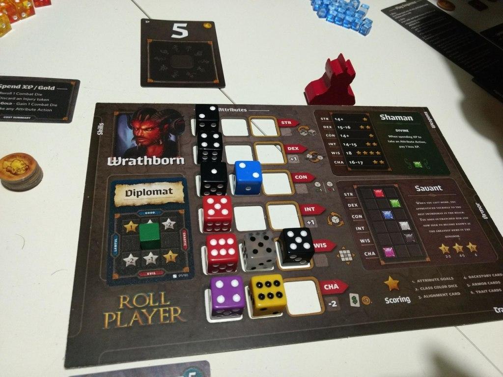 Wrathborn Race board with Shaman Class, Savant Backstory and Diplomat Alignment.