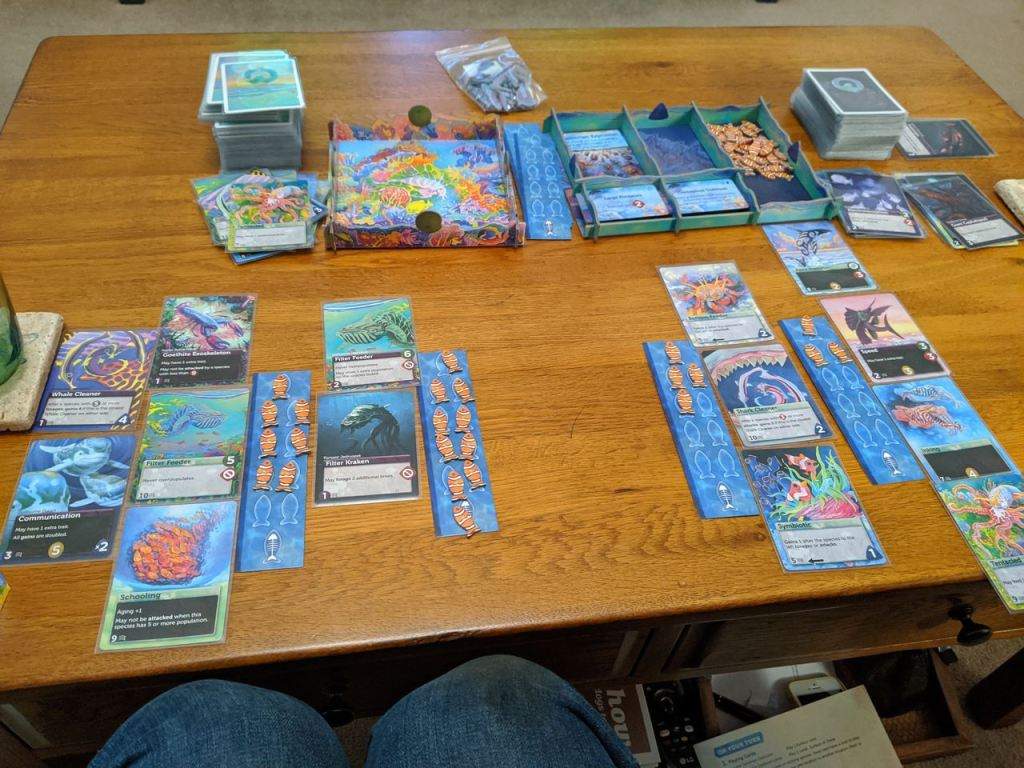 Image of Oceans cards on a table, game in mid flow.