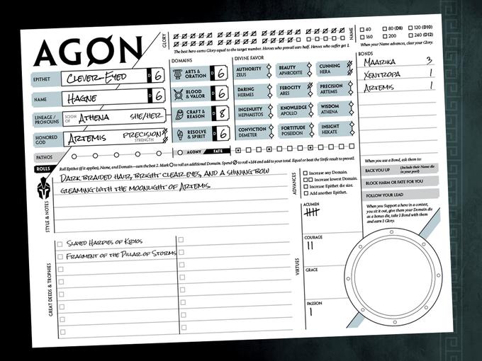 Agon character sheet