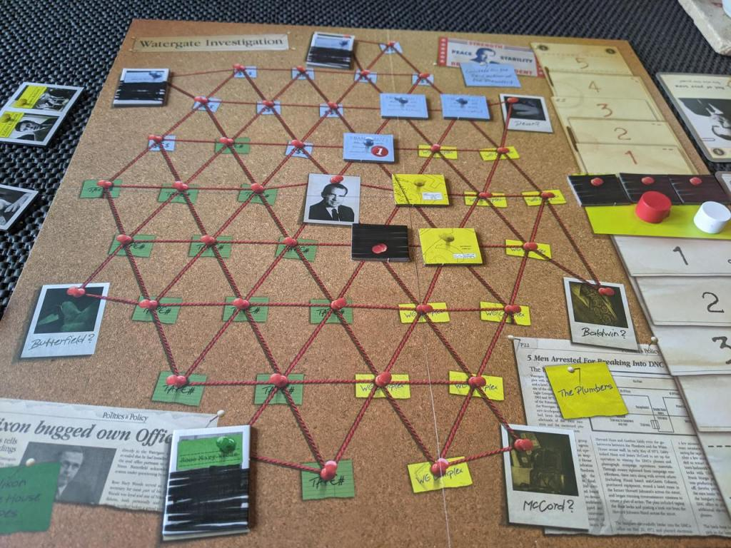 A picture of the watergate board, part way through the game. Some evidence tokens are on the board.