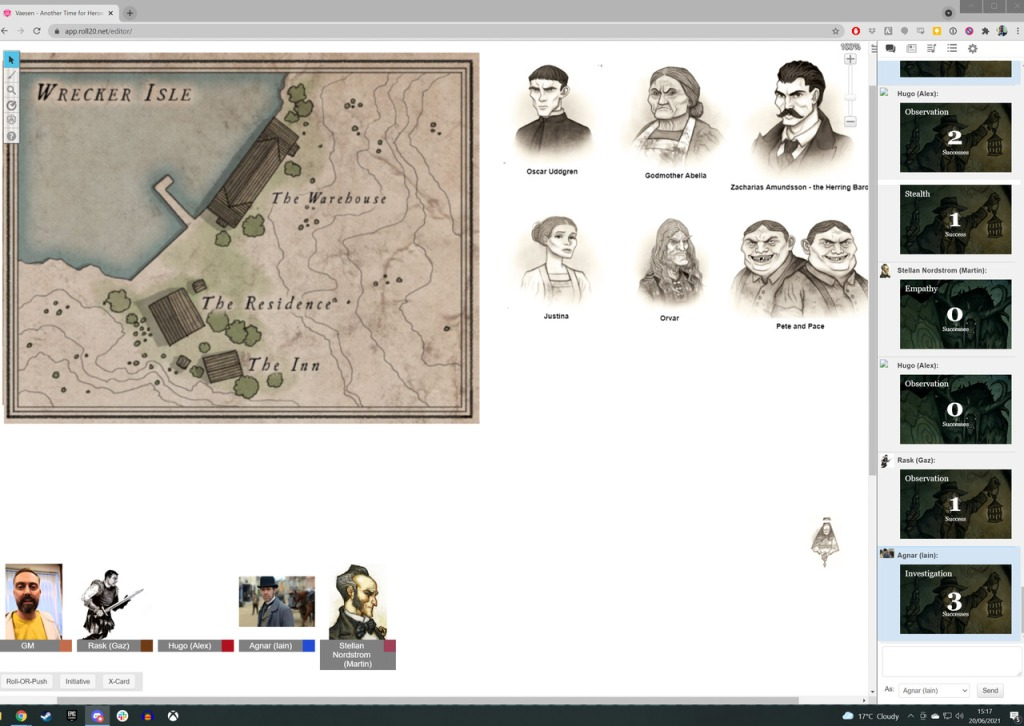 A screenshot showing Vaesen in play on Roll20