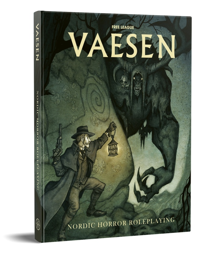 Cover of Vaesen Rulebook. It depicts a man in a suit and cloak, brandishing a lantern in one hand and a gun in the other. He is encountering a large monster.