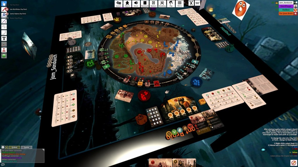 Image from Tabletop Simulator of War of Whispers in play.