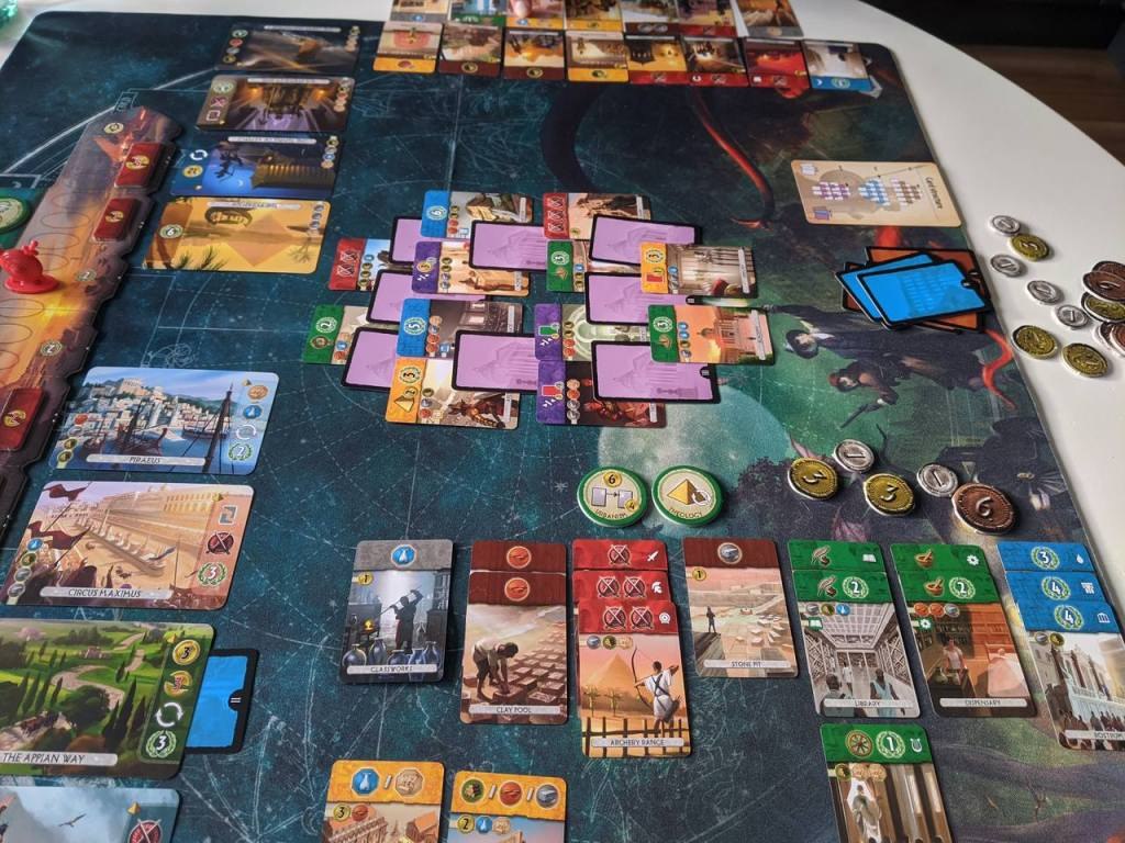 A game of 7 Wonders: Duel in the 3rd Age showing the layout of cards at the start of that age.